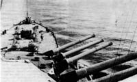 """Фотография. Линкор """"Андреа Дориа"""" (""""Andrea Doria""""), 1917 г. На крышах башен видны гнезда для установки 76-мм зенитных орудий."""